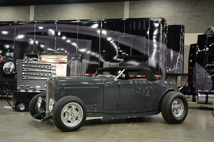 Johnson's Hot Rod Shop has mastered the art of building killer '32 Fords, and this gray roadster is no different. It sits just right, and features a set of our Firestone Dirt Track tires sized at 500-16 and 890-16.