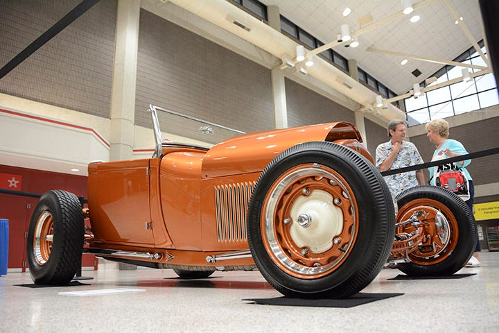 Firestone blackwall tires, including some tall and skinny Dirt Track grooved rears, look right at home on this low slung roadster. The wheels are mid-30s wide-five Ford wheels for a bit of early Dirt Track racing flavor.