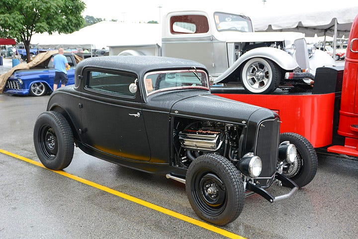 Jon Wright is a well known name in the hot rodding world, thanks to his company, CustomChrome Plating. He's an active hot rodder, and this satin black '32 Ford coupe is one of his latest builds. The Hemi-powered highboy rolls on 500-16 and 820-18 Firestone Dirt Track tires, matched up with Hot Rod Steel wheels.