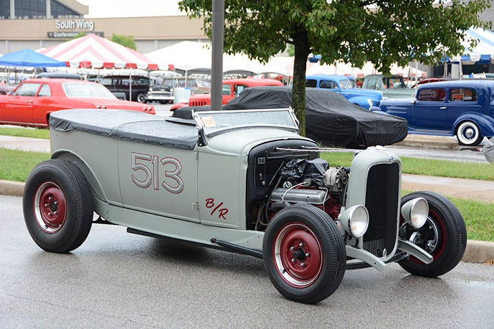 """Thursday didn't offer great roadster weather, and we spotted John Bailey's highboy collecting a few rain drops in its """"tub"""" body."""