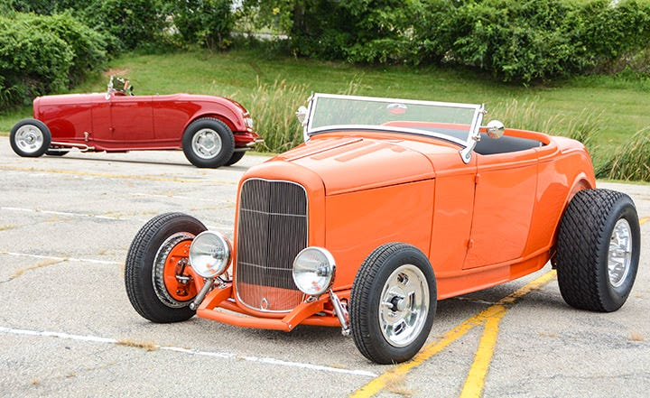 Alright, this is a two-for-one special. Chris Staneck and Ed Gromer built very similar '32 Ford roadsters, both using Firestone F560 145R15 fronts and Firestone 11.00-16 Dirt Track rears. The stance is perfect on this pair of highboy roadsters!