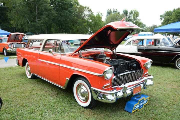 1955 Chevy Nomad with American Classic whitewall tires.