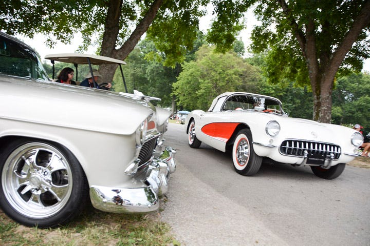 The Tri-Five Nationals didn't discriminate against other 1955, 1956 and 1957 models from Chevrolet, including pickup trucks and Corvettes. This beautiful Corvette makes its way through the scenic surroundings of Beech Bend Raceway Park.