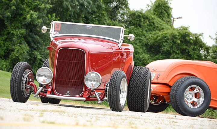 1932 Ford hot rod with Firestone Dirt Track 11.00-16 tires.
