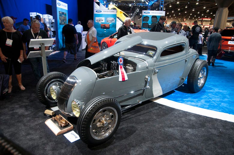 Here's another Ford Model 40 that blew everyone's mind. This salt lake style coupe is heavily chopped with a track nose. This bad boy is in the Ford booth, and has already won a bunch of awards. Photos don't do this car justice.