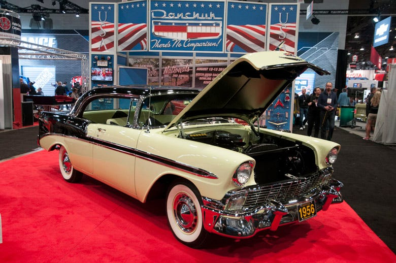SEMA 2015 isn't just about crazy customized creations and hot rods...there are quite a few restored cars, like this beautiful '56 Chevrolet Bel Air four door hardtop. The two-tone paint is spot on and this American icon is rolling on American Classic bias-look radial whitewall tires.