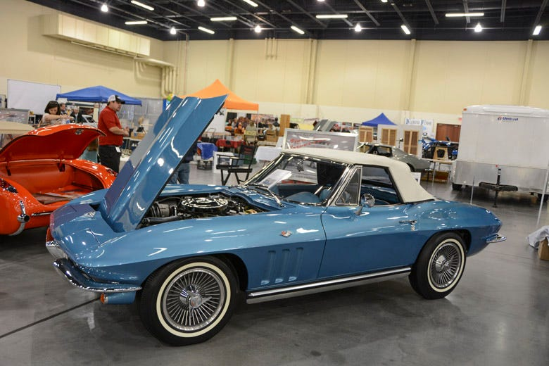 Narrow whitewall BFGoodrich bias ply tires and Knock-off wheels look right at home on this '65 Corvette roadster.