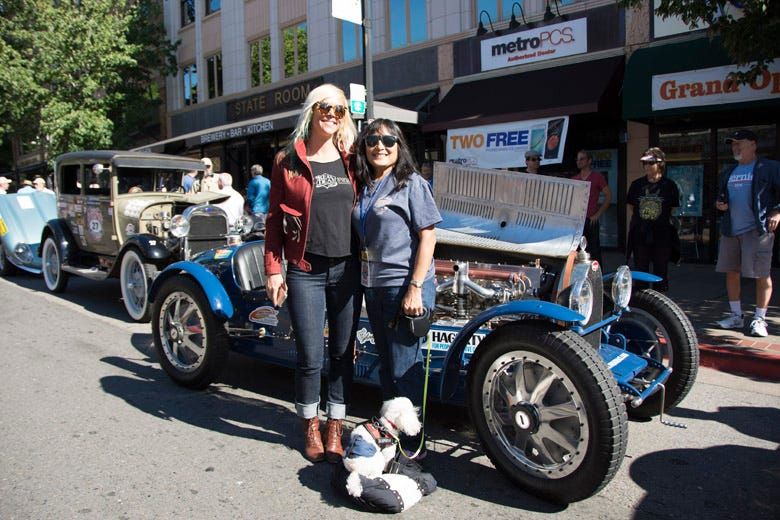 Jessi Combs poses with Rose Kawasaki on the streets of San Rafael. The Pur Sang Bugatti replica behind them is simply stunning!