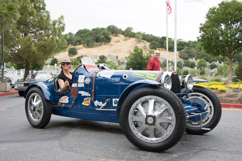 Coker Tire team 2 include an elegant Bugatti racecar, piloted by automotive TV personality, Jessi Combs. The Pur Sang replica is super slick, and rolls on Excelsior Comp H tires.