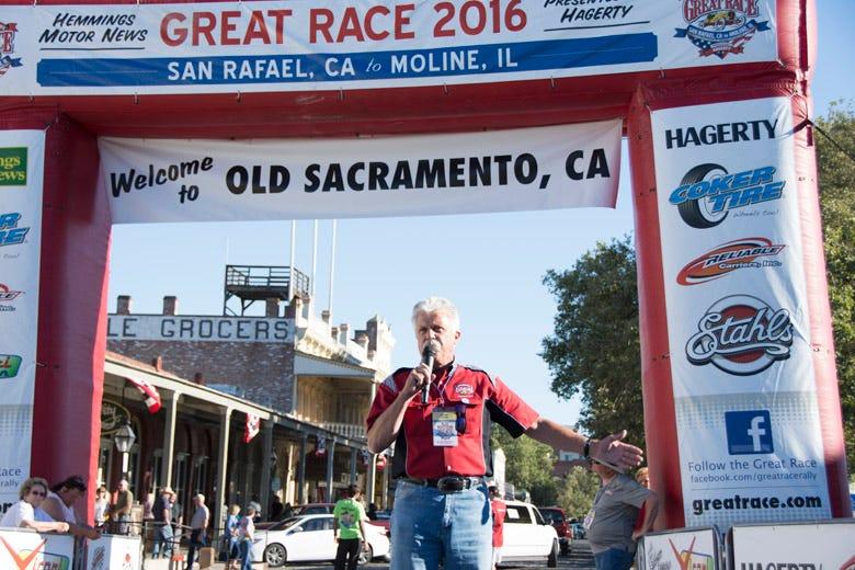 Corky Coker addressing the crowd in Old Sacramento, California.