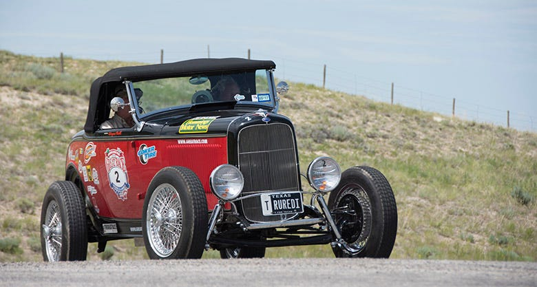Curtis Graf has competed in every Great Race, since the very first one in 1983. This year, he drove his 1932 Ford highboy roadster, which rolls on custom wire wheels and Excelsior Stahl Sport Radial tires. The longtime Great Racer, along with his seasoned navigator, Wayne Bell finished seventh overall.