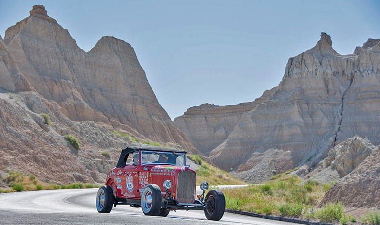 Jody Knowles and Beth Gentry carve their way through the Badlands National Park, on their way to a fifth place overall finish. The 1932 Ford Cabriolet is a favorite in the Great Race, and rolls on a new tire/wheel combo, which consists of BFGoodrich Silvertown whitewall radials and Hot Rod Steel wheels.