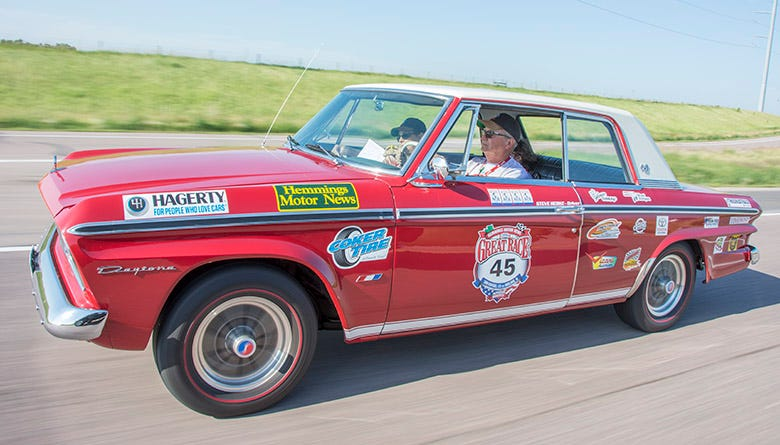 Scoring eleventh place overall, the team of Steve, Janet and Allison Hedke motored across America in their 1964 Studebaker, which rolls on super cool Studebaker reproduction wheels and BFGoodrich Silvertown radial redline tires.