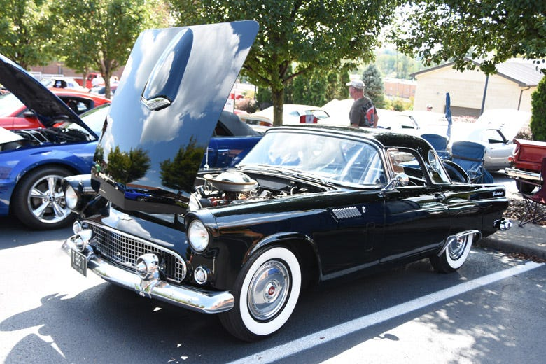 This 1956 Ford Thunderbird rolled in from Ohio and looks great in black, with a set of Coker wide whitewall tires!