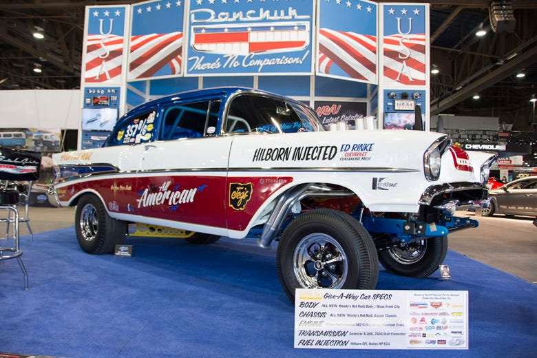 SEMA 2016 --  Tri-Five Nationals Give-Away 1957 Chevy Gasser