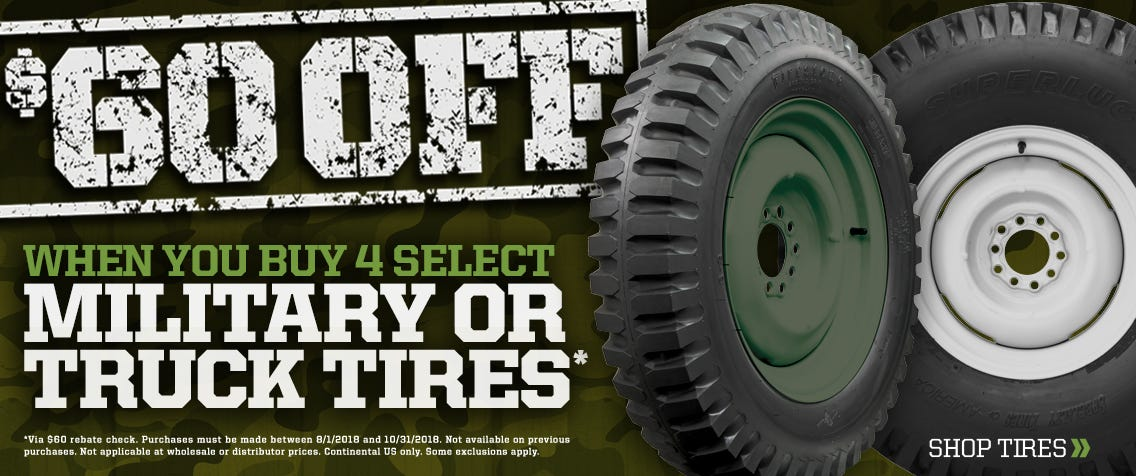 $60 off Select Military & Truck Tires