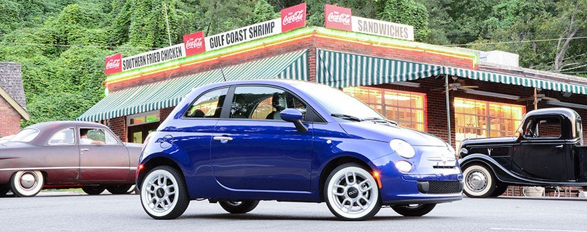 American Classic Radial for the new Fiat 500 at Nikki's DriveInn Chattanooga, Tennessee.