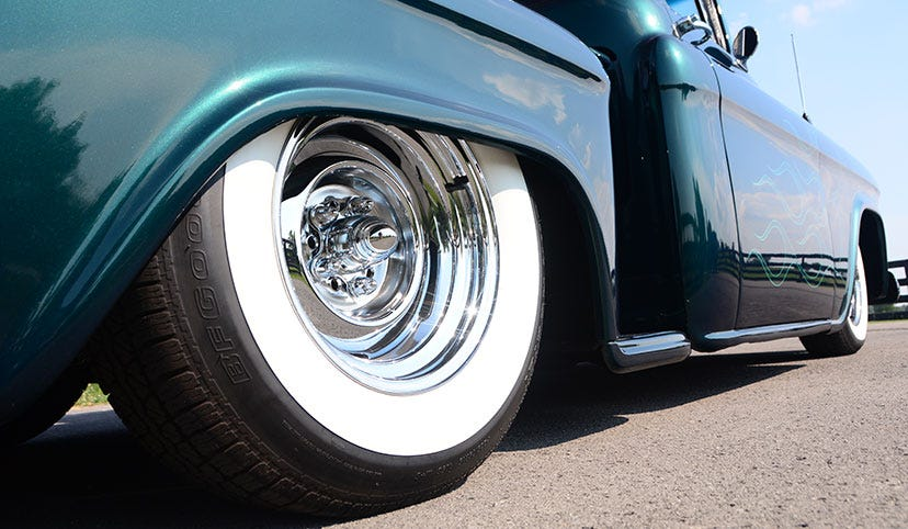 Custom 1955 Chevrolet Pickup Truck with BFGoodrich® Silvertown Radial Whitewall Tires