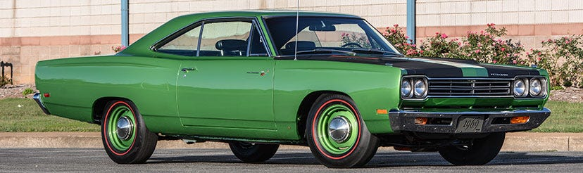 1969 1/2 Plymouth Roadrunner with Firestone Bias Ply Redline Tires