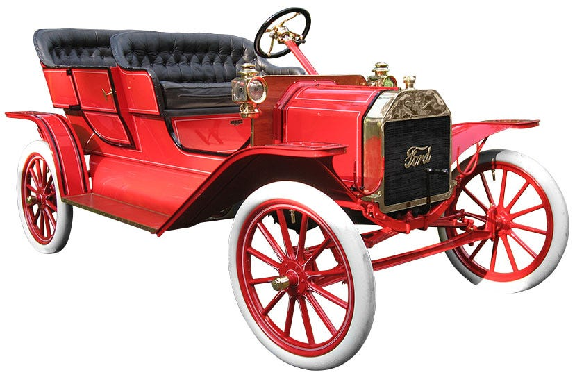 Early Ford Automobile with Smooth All White Tires from Coker Tire Company